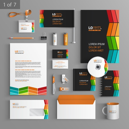 41413430 - black corporate identity template design with color square elements. business stationery