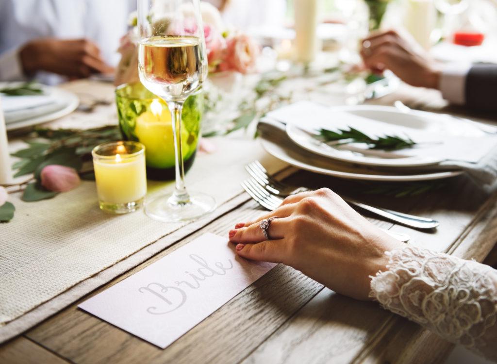 Bride showing Engagement Ring on Left Hand on Wedding Celebratio