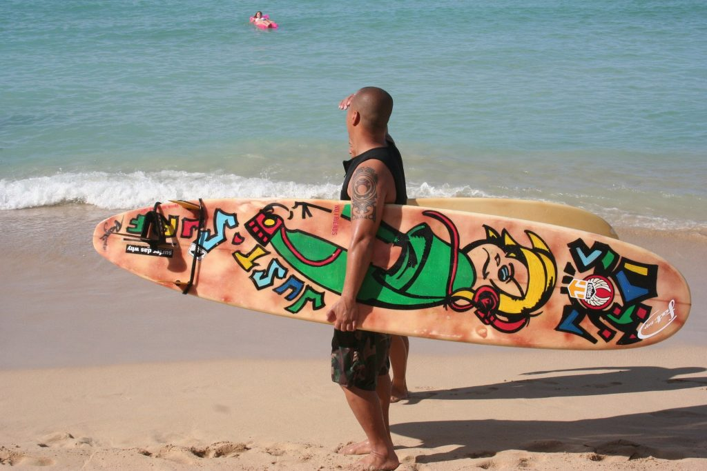 Decorated surfboard