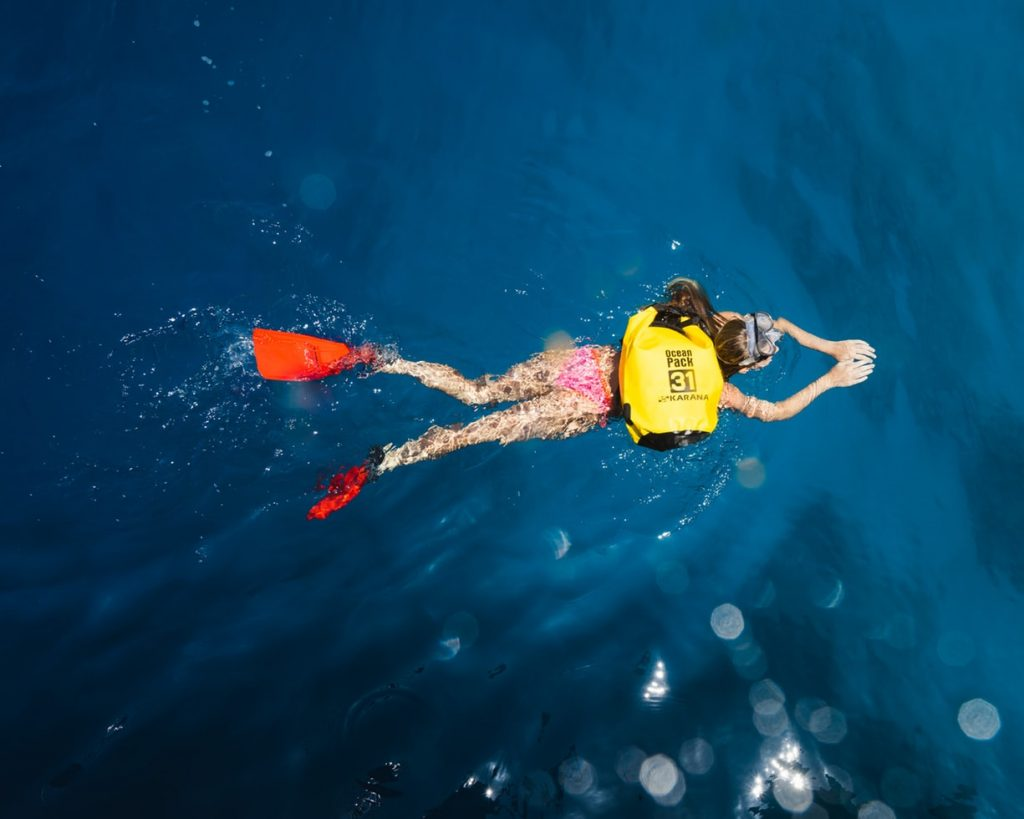 Snorkeling with a dry bag
